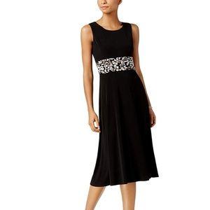 Jessica Howard Metallic-Dot Floral Dress Black/Tau